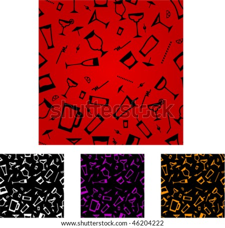 cocktail glasses pattern with 3 different color alternatives - stock vector