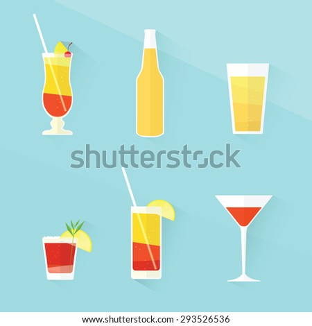 cocktail icon set. flat design - stock vector