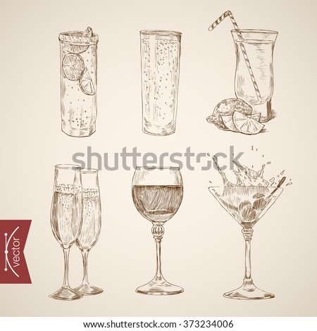 Cocktail lemonade wine champagne alcohol glasses set. Engraving style pen pencil crosshatch hatching paper painting retro vintage vector lineart illustration.  - stock vector