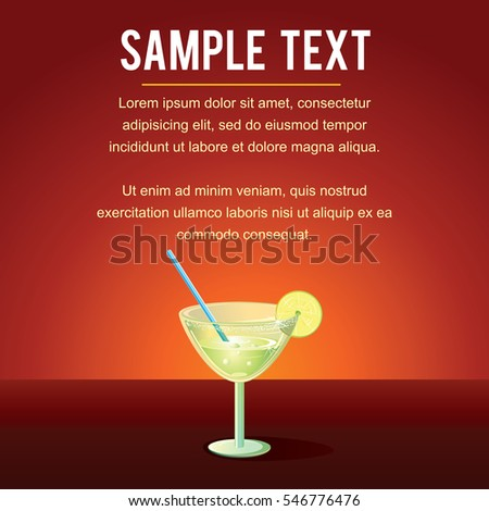 Cocktail Margarita Vector Template. Ready for Text and Design.