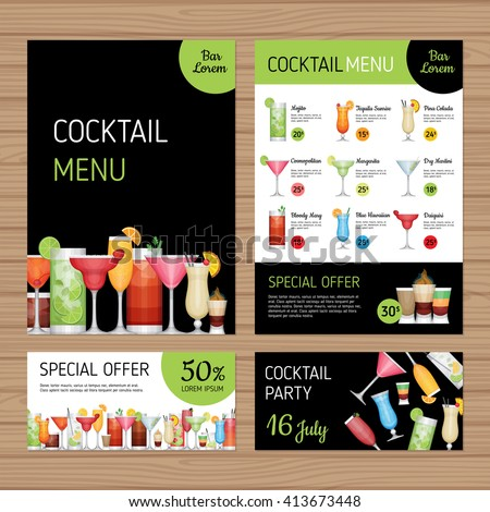 cocktail menu design alcohol drinks a 4 stock vector royalty free
