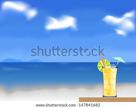 cocktail on the beach vector