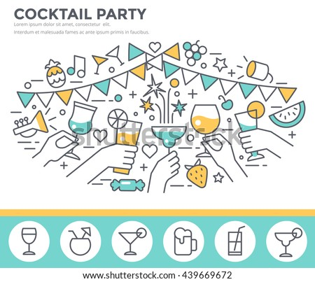Cocktail party invitation concept template, hands of friends with alcohol drinks making toast vector illustration, thin line, flat design - stock vector
