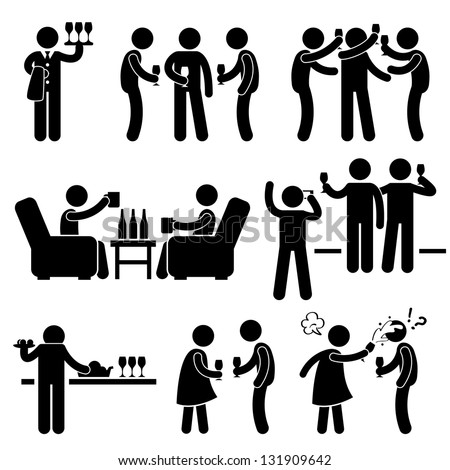 Cocktail Party People Man Friend Gathering Enjoying Wine Beer Stick Figure Pictogram Icon - stock vector