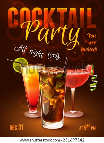 Cocktail party poster with alcohol drinks in glasses on dark background vector illustration. - stock vector