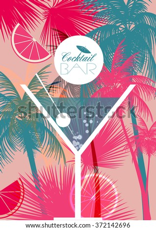 Cocktail Party Retro Poster Design - Vector Illustration - stock vector