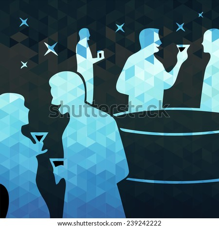 cocktail party. vector illustration - stock vector