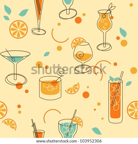 Cocktail Pattern - stock vector