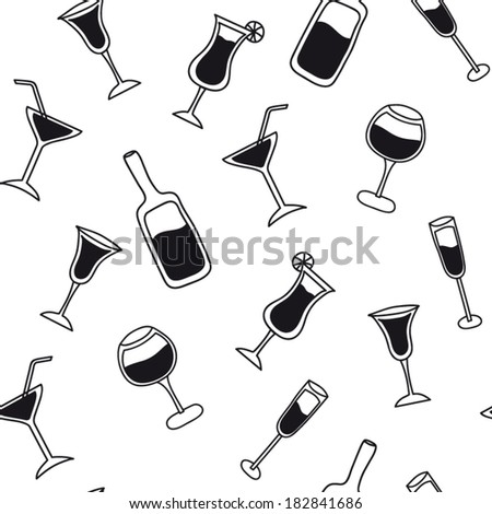 Cocktail pattern black and white - stock vector