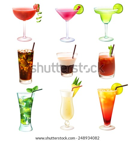 Cocktail realistic decorative icons set with  margarita mojito bloody mary isolated vector illustration - stock vector