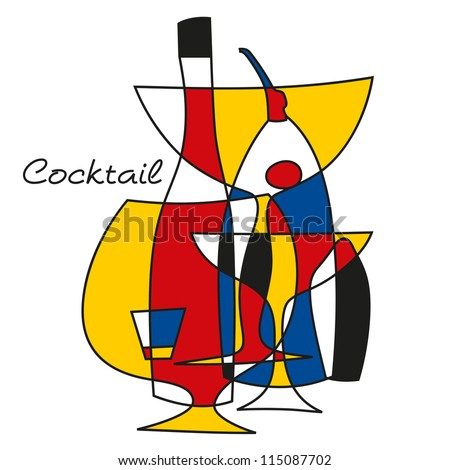 Cocktail retro set - stock vector