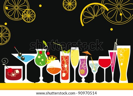 Cocktail Set in retro style - stock vector