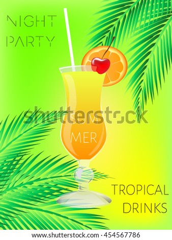 Cocktail. Summer tropical coctail poster with palm leaves.