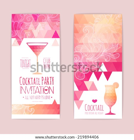 Cocktail triangle background - stock vector