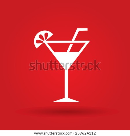 cocktail vector icon. Flat design style - stock vector