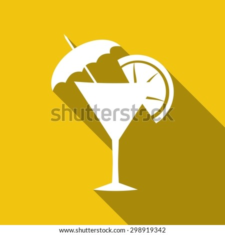 cocktail with a long shadow - stock vector