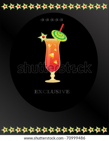 cocktail with fruit on the black background - stock vector