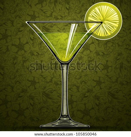 Cocktail with green lime and retro floral seamless pattern on background, vector illustration. - stock vector