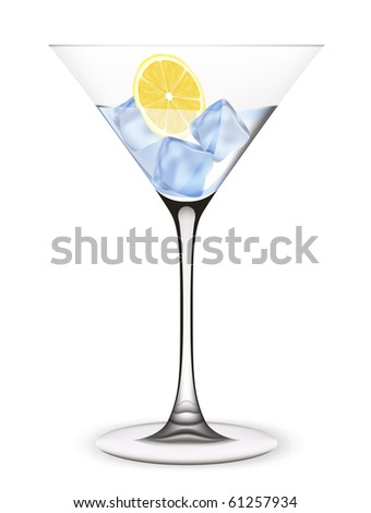 Cocktail with ice and lemon. Vector illustration. - stock vector