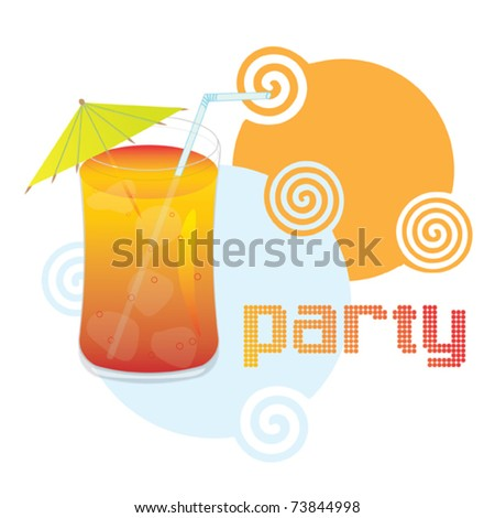 Cocktail with straw and umbrella - colorful party invitation - stock vector