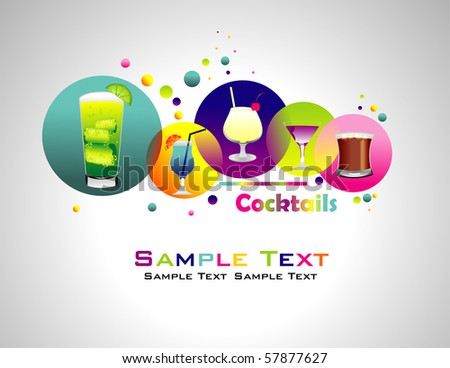 Cocktails abstract colorful background. - stock vector
