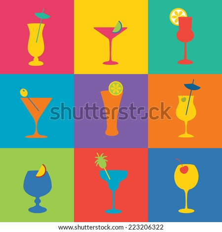 Cocktails icon set in flat design style. Simple icons of drinks - stock vector