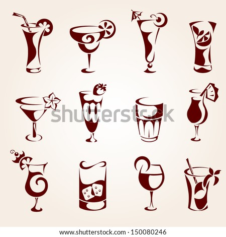 Cocktails icons - stock vector