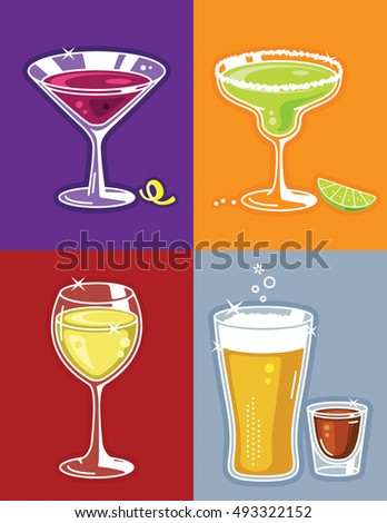 Cocktails Illustration with Martini, Margarita, Wine, Beer and Shot Glass