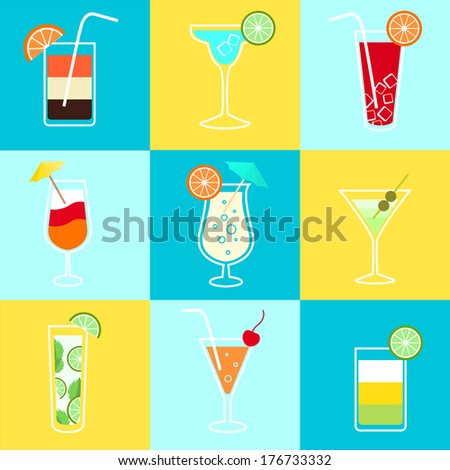 Cocktails party icons set of alcohol drinks martini vodka tequila and brandy isolated vector illustration - stock vector
