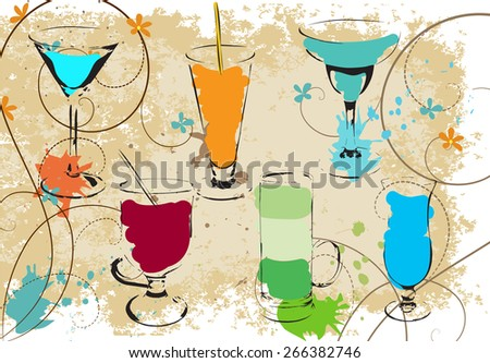 cocktails set sketch - stock vector
