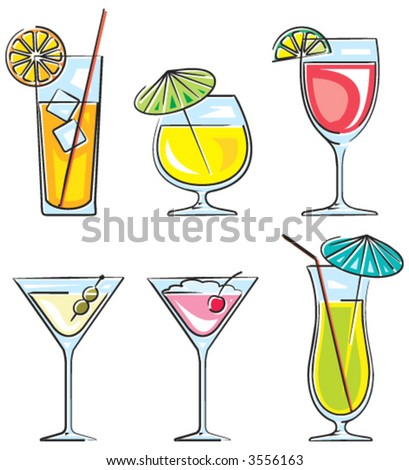 Cocktails vector illustration - stock vector