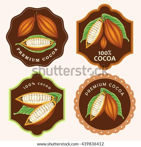 Cocoa Bean labels - stock vector