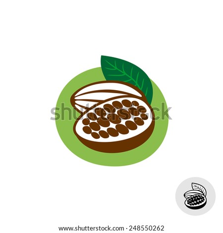 Cocoa pod with beans vector badge symbol - stock vector