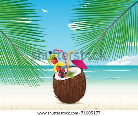 Coconut cocktail on the beach - stock vector