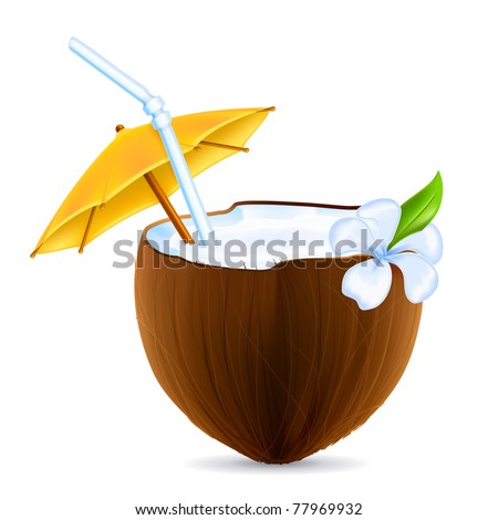 Coconut Cocktail, vector - stock vector