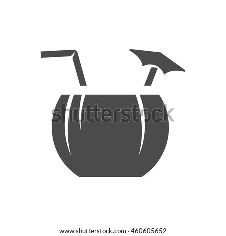 Coconut drink icon in black and white grey single color. Tropical Asian. - stock vector