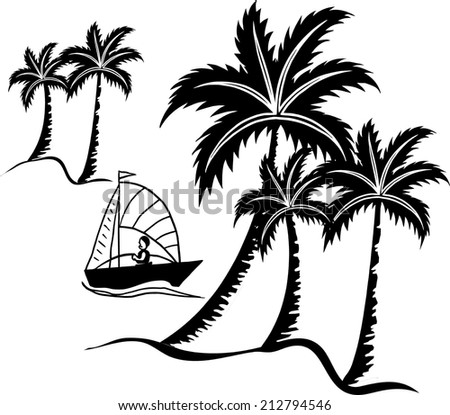 coconut palms in summer and a ship.