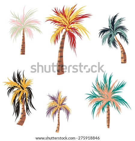 coconut tree and colorful vector set