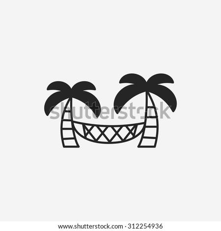 Coconut tree hammock icon - stock vector