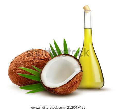 Coconut with oil. Vector.