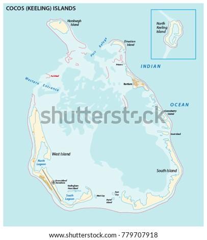 Cocos Keeling Islands Vector Map Stock Vector HD Royalty Free