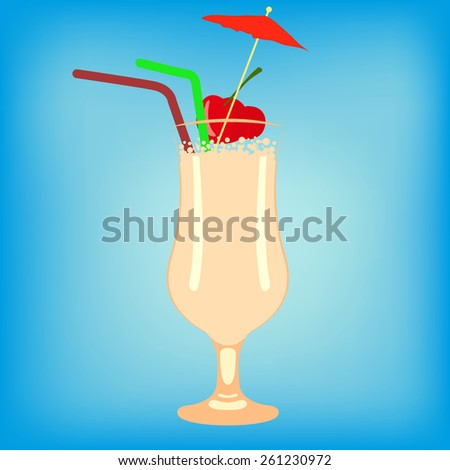 coctail glass on the blue - stock vector