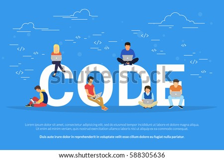 Code concept illustration of students using laptops for developing programs and app. Flat modern design of young programmers coding a new project sitting on big letters and working hard