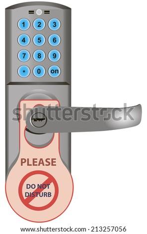 Code door lock with information on the handle. Vector illustration. - stock vector