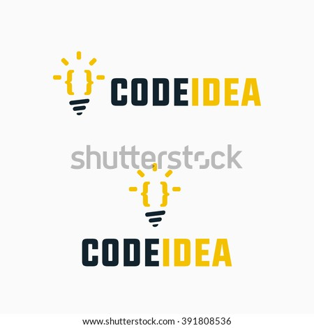 Code Idea Simple Symbol For Programming Specialist, Web Developer, Coder, Programmer, Creative Studio, Network Service, Software Firm etc. Represents the Concept of Creative Coding & Smart Solutions  - stock vector
