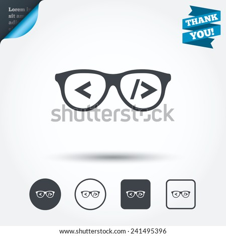 Coder sign icon. Programmer symbol. Glasses icon. Circle and square buttons. Flat design set. Thank you ribbon. Vector - stock vector