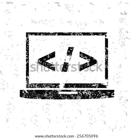 Coding design on old paper,grunge vector - stock vector