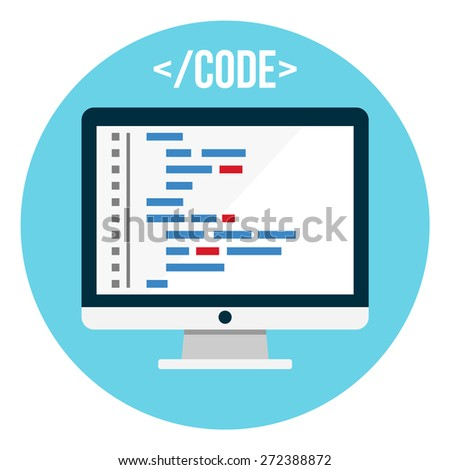 Coding on a desktop PC - stock vector