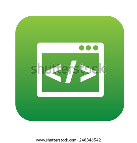 Coding on green flat button,clean vector - stock vector