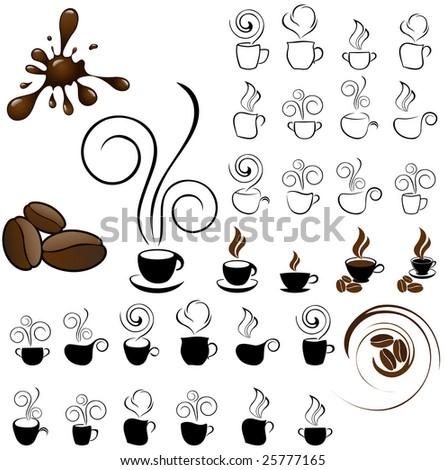 coffe icons - stock vector